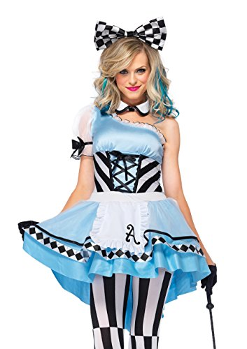 Leg Avenue Women's 3 Piece Psychedelic Alice Costume, Blue/White, Small - Women In Sexy Halloween Costumes