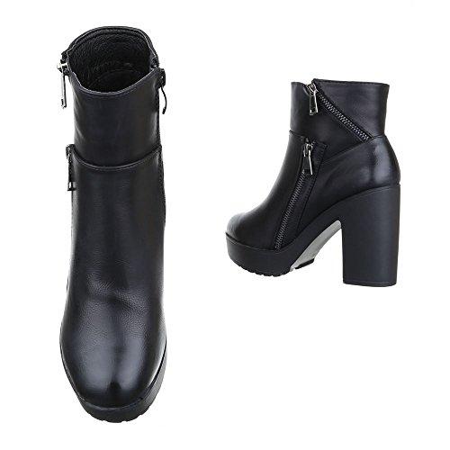 Ital-Design - botas estilo motero Mujer negro