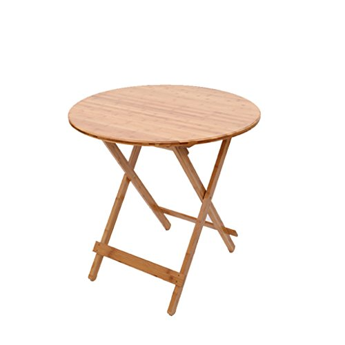 GFL Simple Bamboo Folding Table Circular Table Dining Table Portable Home  Study Table Casual Tables Computer