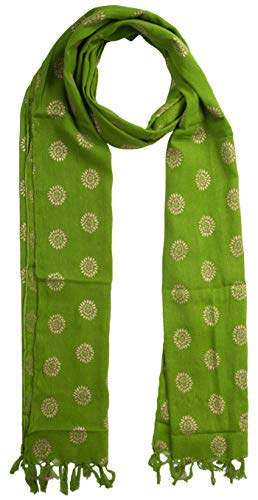 (KNIT SILK Women's Pure Silk Abstract Print Scarf (Green, 36 inches x 36 inches, Pack of 1))