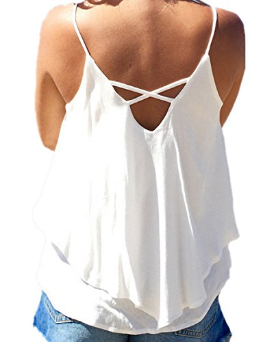 Cuello Tirantes Mujer Con V Chiffon En Blanco De Zanzea Camisetas Sin Mangas Chaleco Verano Gasa Backless T8vPxaqw