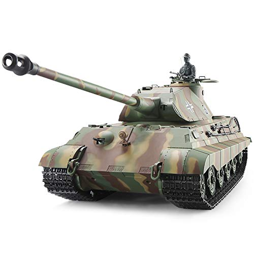 Heng Long Pro Edition Remote Control 2.4Ghz 1/16 Scale German King Tiger Porsche RC Main Battle Tank with Metal Gear Tracks, Airsoft RC Tank