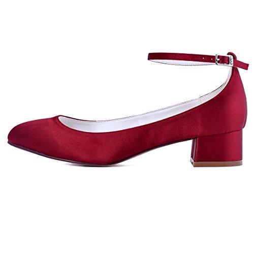 ElegantPark mujeres cerradas Toe Chunky talón tobillo Strap Bombas Satén Zapatos De La Boda rojo oscuro