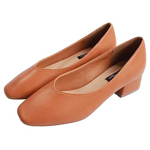 FLYRCX Zapatos de Mujer Solos Zapatos de tacón bajo de Temperamento de Moda de Boca Baja Zapatos de Trabajo C