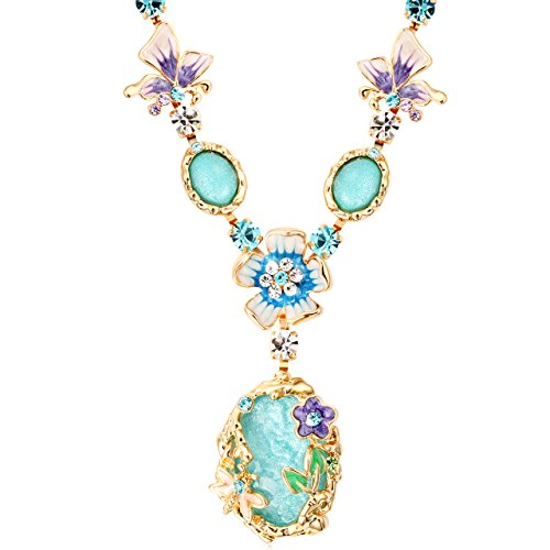 Pure Peony Series (The Starry Night Bohemian Style Blue Crystal Beautiful Flower Girl Femininity Noble Temperament Necklace)