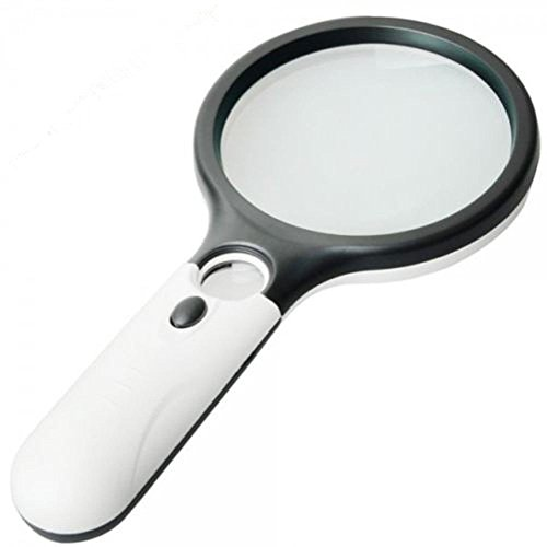 (Magnifier 3 LED Light, Marrywindix 3X 45X Handheld Magnifier Reading Magnifying Glass Lens Jewelry Loupe White and Black)