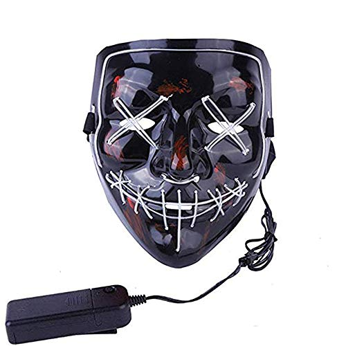 MMSS Halloween Mask Scary Mask LED Light Up Cosplay Mask for Halloween Festival Party -