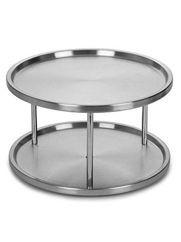 Kitchen Estilo Stainless Steel Lazy Susan – 2 Tier Design, 360-degree Turntable lazy susans