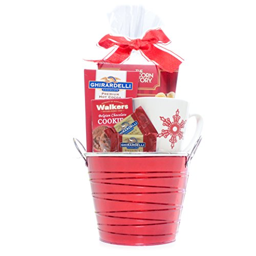 Holiday Cheer Red Themed Gift Basket - Ghirardelli Chocolate, cocoa, Walkers Cookies and The Popcorn Factory Kettle Corn with Snowflake Coffee Mug - Damage-Free Guarantee