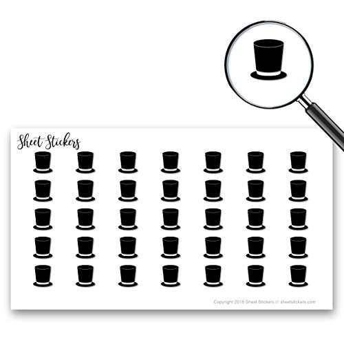 Top Hat Top-hat Tophat, Sticker Sheet 88 Bullet Stickers for Journal Planner Scrapbooks Bujo and Crafts, Item 156165 ()