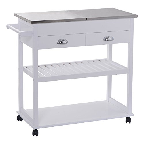 - White Rolling Trolley Kitchen Stainless Steel-Flip Top W/Drawers & Casters Serving Cart
