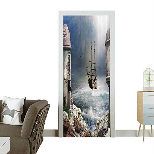 Door Sticker Wall Decals Pirate Merchant Ship Anchored in The Bay of Fort Abanded Rocks Shore Easy to Peel and StickW17.1 x H78.7 INCH