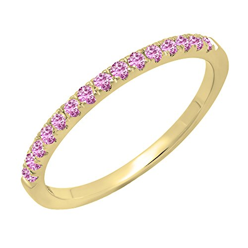 Dazzlingrock Collection 14K Round Pink Sapphire Ladies Bridal Stackable Wedding Band 1/4 CT, Yellow Gold, Size 7.5