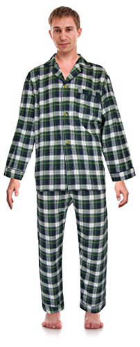 - Casual Trends Classical Sleepwear Men's 100% Cotton Flannel Pajama Set, Size XXX-Large Green