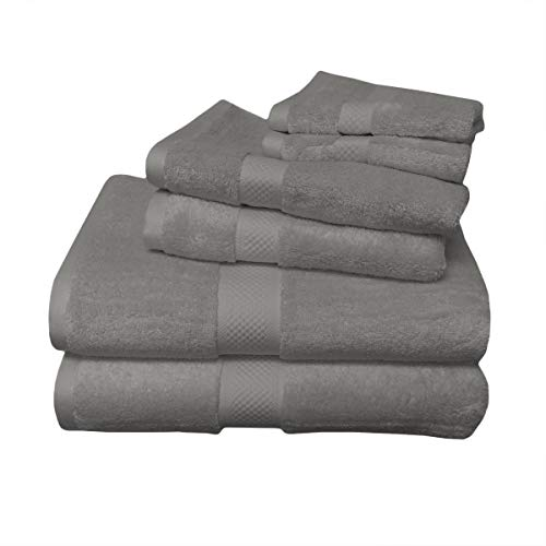 Royal Tradition 6PC Grey Bamboo-Blend Towel Set Including 2 Bath Towels, 2 Hand Towels and 2 wash Cloths