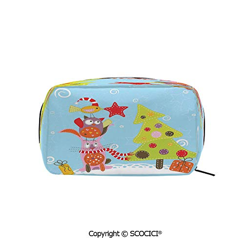 Rectangle Portable makeup organizer Cosmetic Bags Funny Cartoon Stylized Cat Owl and a Bird Best Animals Gifts Noel Print Printed Storage Bags for Women Girls]()