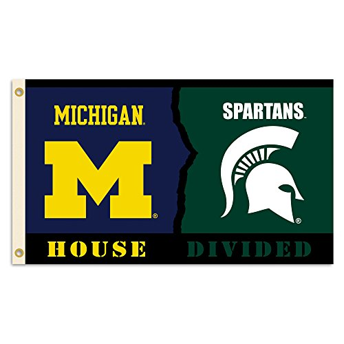 NCAA Michigan Wolverines Flag with Grommets (Rivalry House Divided), 3' x 5', Blue & Green