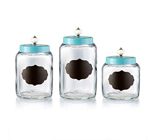 Style Setter Chalkboard 3 Piece Glass Canister Set, Turquoise - 3 Piece Glass Canister