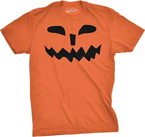 (Mens Spikey Teeth Pumpkin Face Funny Fall Halloween Spooky T Shirt (Orange))
