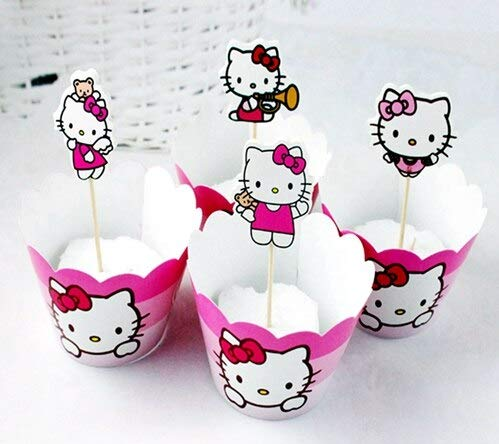 GoldLock 12pcs Cupcake Wrappers 12pcs Cake Toppers Picks Cute Minnie Mickey Mouse Kids Baby Shower Birthday Party Wedding Cake Decoration (Hello Kitty pink)]()