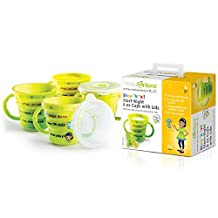 Best Help For Your Child – Show N´Tell Nutrition Start-Right Cup From Precise Portions – Set Of 4 – Kid Safe BPA Free – 6 oz Double-Handle Cups – Lids – USDA Nutritional Guidelines Design – 3 Divisions To A Perfect Size Juice, Milk Or Water Without Thinking – Out Or At Home – Colorful Cartoons Make It Very Easy For Kids To Understand – A Great Tool For Weight Loss And Enhanced Living Since Childhood – Improve Your Children Future Lifestyle – Give Them A Head Start Now!