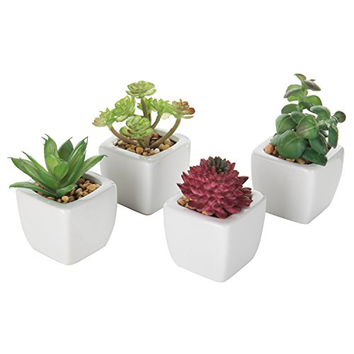 Set of 4 Small Modern Cube-Shaped White Ceramic Planter Pots with Artificial Succulent Plants - MyGift by MyGift