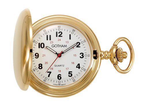 Gold Pocket Tone Quartz Watch - Gotham Men's Gold-Tone Polished Finish Covered Quartz Pocket Watch # GWC15042G