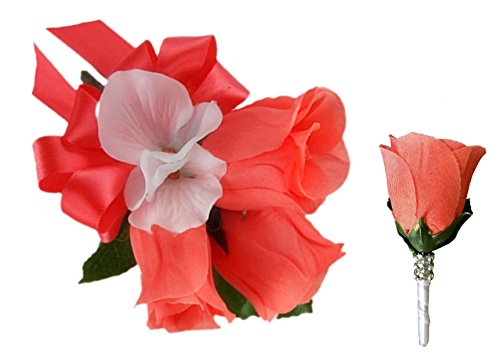 (Angel Isabella 2pc Set: Coral Rose Buds Wrist Corsage & Boutonniere.pin and Wrist Band Included)