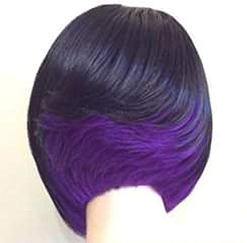 GHF Short Bob Hair Wigs 12in Straight with Flat Bangs Synthetic Colorful Cosplay Daily Party Wig for Women Natural As Real Hair+ Free Wig Cap,Black+Purple ()
