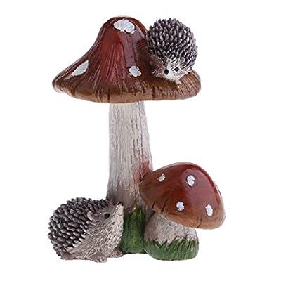 Resin Mushroom with Animal Ornament Fairy Garden Mushroom Garden Pots Decoration Pottery Ornament for DIY Dollhouse Potting Shed Flowerpot Plants Statue - Hedgehog Brown Mushroom: Home & Kitchen