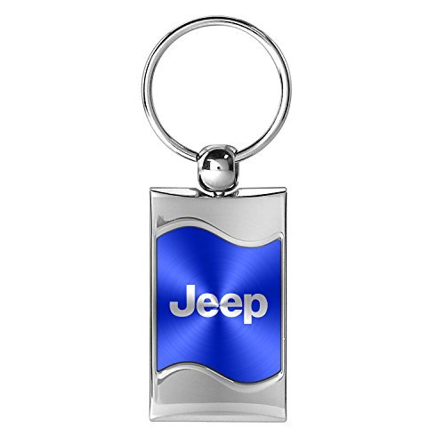 (Au-Tomotive Gold, INC. Premium Chrome Spun Wave Blue Jeep Genuine Logo Key Chain Fob Ring)