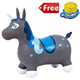 Inflatable Bouncy Unicorn, Unicorn Hopper Kit Ride-on Jumping Toy Space Hopper for Kids Toddlers (E)