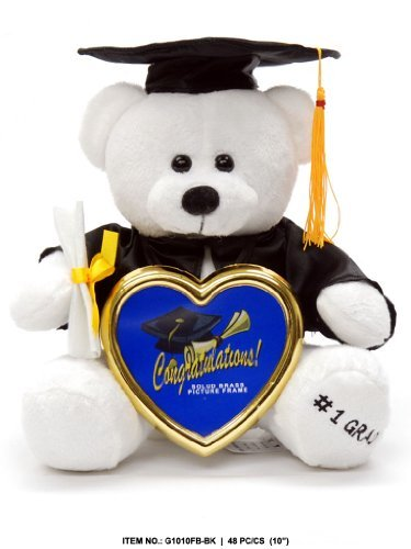 Graduation White Bear with Cap, Diploma & Solid Brass Picture Frame - 10 Inches