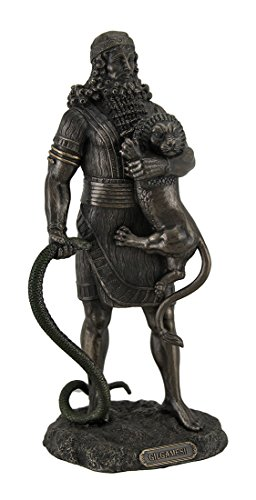 Resin Statues Gilgamesh The Legendary King Of Uruk Holding Lion & Serpent Bronze Finish Statue 4.5 X 10 X 4 Inches Bronze