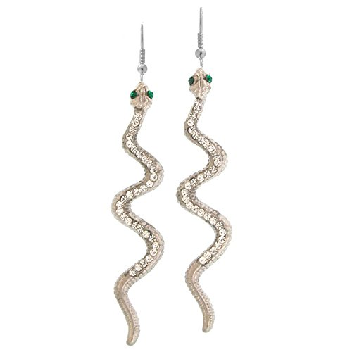 - Nickel Free Snake Earrings Studded with Swarovski Stones, Quality Made in USA!, in Silver Tone with Matte Finish