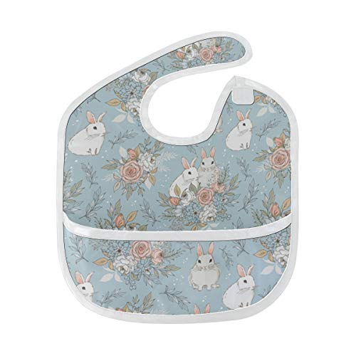 Elegant Bunny Small Rabbit Custom Soft Waterproof Stain Odor Resistant Baby Feeding Dribble Drool Bibs Burp Cloth For Infant Overall For 6-24 Months Kid Gift ()