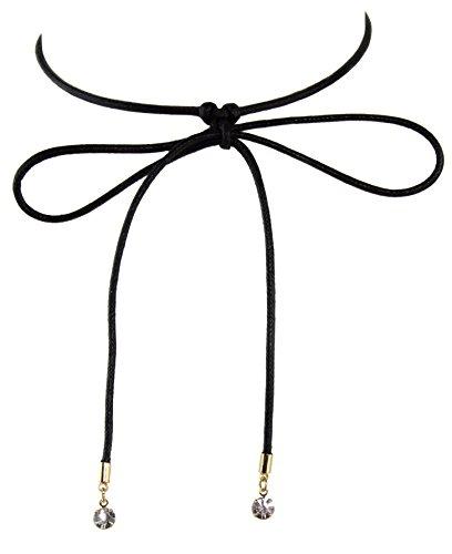 - Zoe & Ella Crystal Rhinestone Rope Wrap Around Knotted Bow Choker Necklace