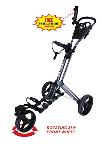 Qwik-Fold 360 Swivel 3 Wheel Push Pull Golf CART - 360 Rotating Front Wheel - ONE Second to Open & Close! (Charcoal/Black)