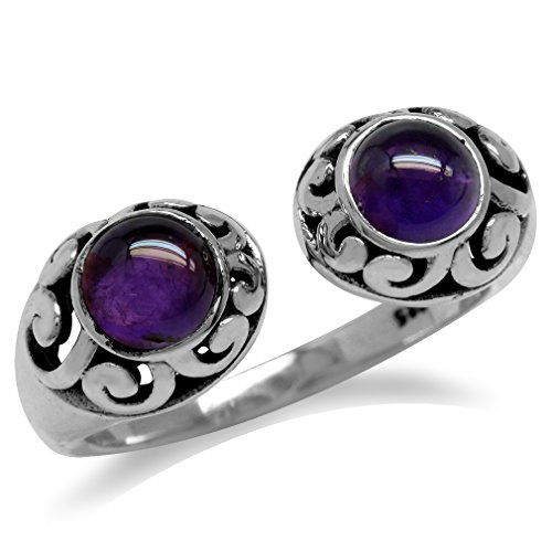 Cabochon Amethyst 925 Sterling Silver Filigree Open Front Ring Size 9