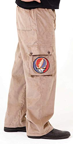 (Jayli Samson Corduroy Men's Cargo Pants with Steal Your Face Embroidery Grateful Dead   GD-116-TAN-2X)