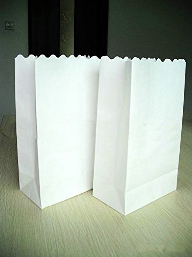 Joinwin® Pack of 20 New White Luminary Bags - Plain white Design - Wedding, Reception, Party and Event Decor - Flame Resistant Paper - Luminaria -