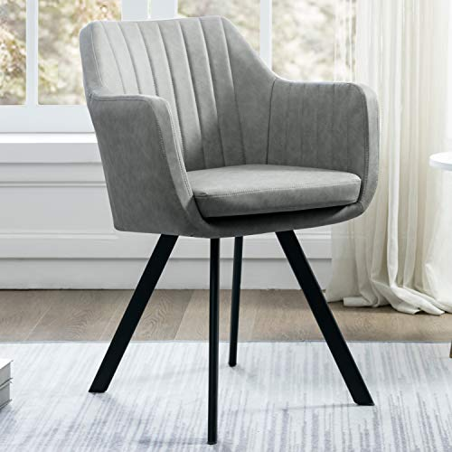 Art Leon Arm Chair Upholstered Faux Leather Metal Legs (Grey) ()