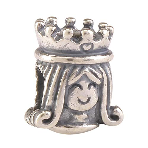 Sterling Silver Charm Happy Queen Charm Bead fits All Charm Bracelets Women Girls Birthday Gifts ()