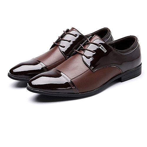 Sunny&Baby Chaussures de Travail pour Hommes Smooth Splice Matte PU Cuir Lacets Oxford Doublés Respirant Résistant à l'abrasion (Color : Noir, Taille : 47 EU) Marron