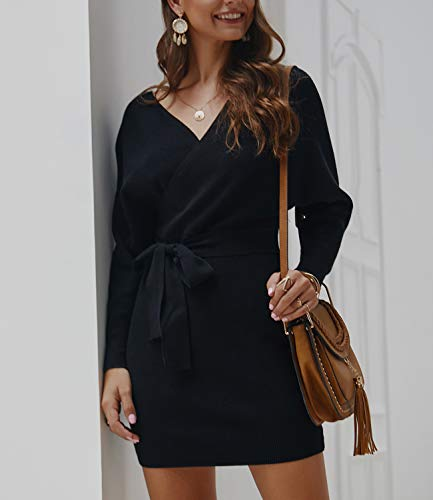 Mansy Women's Sexy Cocktail Batwing Long Sleeve Backless Mock Wrap Knit Sweater Mini Dress
