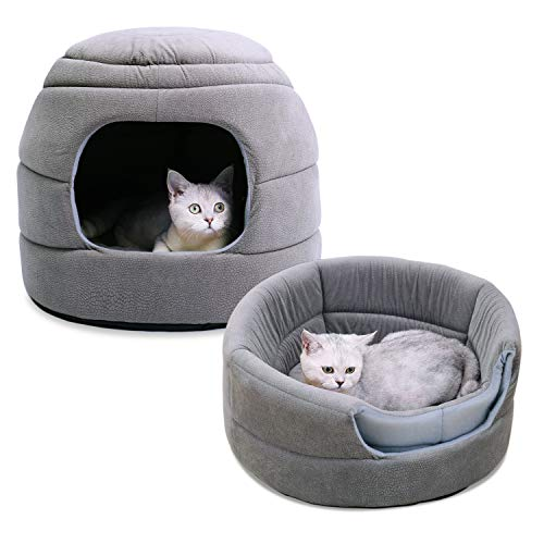 PAWZ Road 2-in-1 Cat Bed Grey, Dog Igloo Kitten Hut for Cats and Small Dogs with Removable Pad, Exquisite Workmanship Cat House 20 inches Dia x 16 inches H Gray