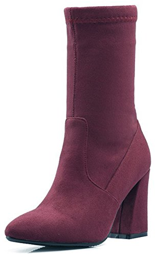 Easemax Women's Chic Faux Suede Pull On Pointy Toe High Chunky Heel Mid Calf Booties Wine Red