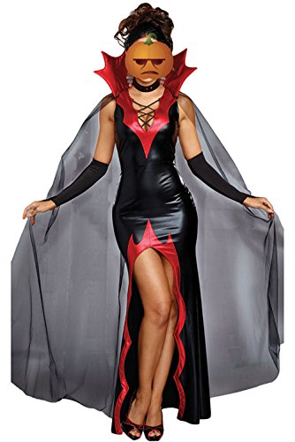 Women Halloween Costume Witchy Queen 2 PCS Vampire Cosplay Party Costume (L (US 12-14), Black)