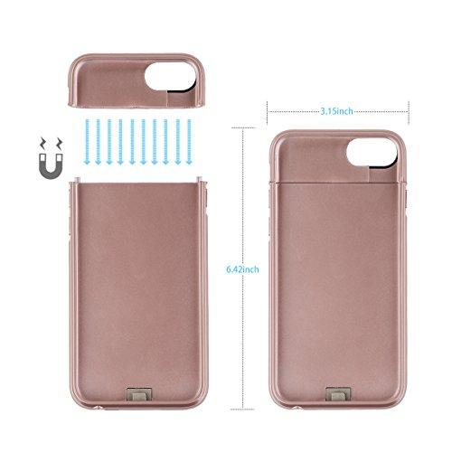 Leadtry iPhone 7(S) Plus y iPhone 6(S) Plus 5.5funda carcasa magnético de 4200mAh Caso Cargador Portátil de Batería Slim externa recargable batería Backup caso rosa (b)
