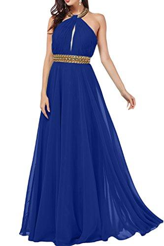 ivyd ressing Mujer a de línea Neck Holder con piedras gasa vestido de fiesta Prom vestido para vestido de noche Azul Real